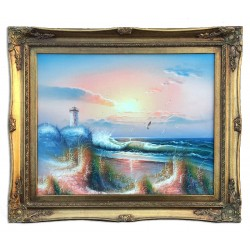 Lighthouse and sea, oil...