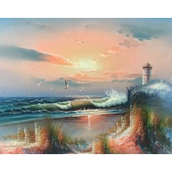 Lighthouse on the sea, oil...