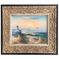 Sea with lighthouse, oil...