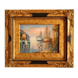 Harbour painting with...